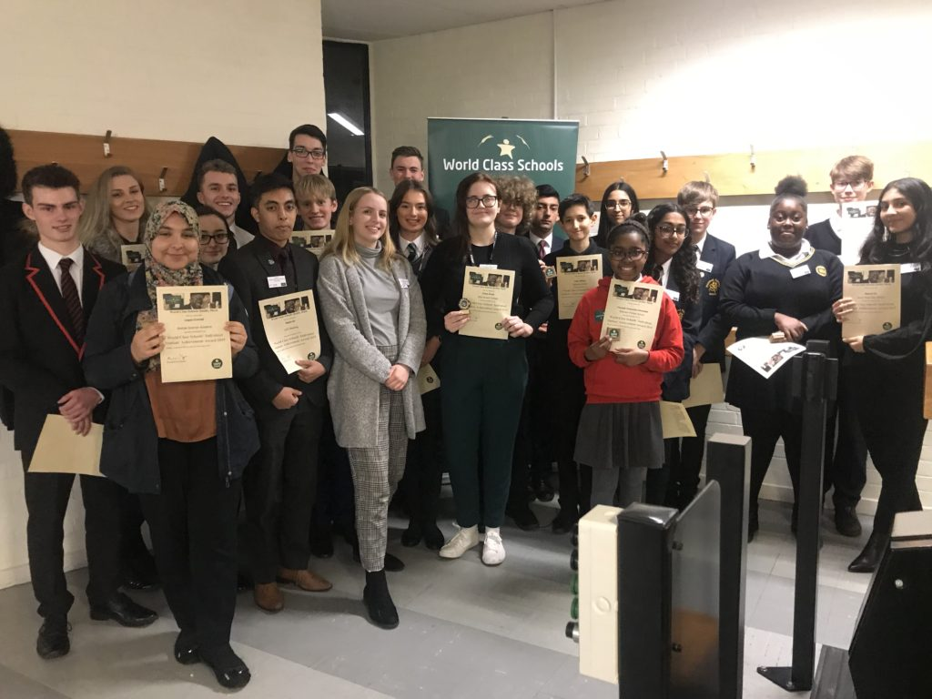 Chloe Smith, centre, winner of the 2019 student achievement award, with all the students shortlisted for the award.